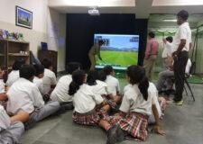 Golf coaching on simulator at Scottish High
